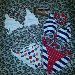 July 4th Joe Boxer Bikini Bundle/1 Reversible/EUC